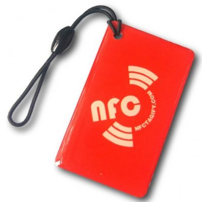 Red Rectangle Printed NFC Epoxy NTAG213 Chip Ø 25 mm