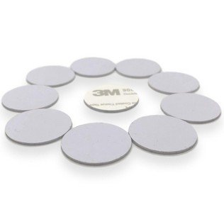 10 x NFC White Tags NTAG215 Hard PVC 25 mm 3M Glue